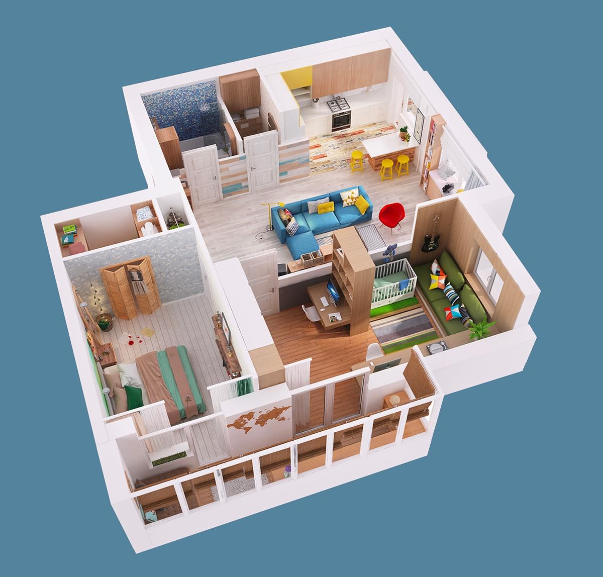 Denah Interior Rumah Kecil 3D