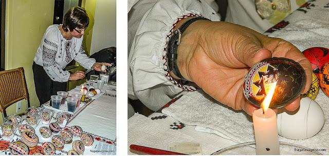 Confecção de pêssankas, ovos de páscoa decorados segundo a tradição ucraniana