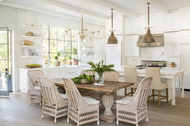 Beautiful modern farmhouse style kitchen and dining inspiration on Hello Lovely Studio