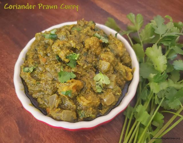 images of Coriander Prawn Curry / Coriander Prawns / Shrimp Coriander Leaves Curry