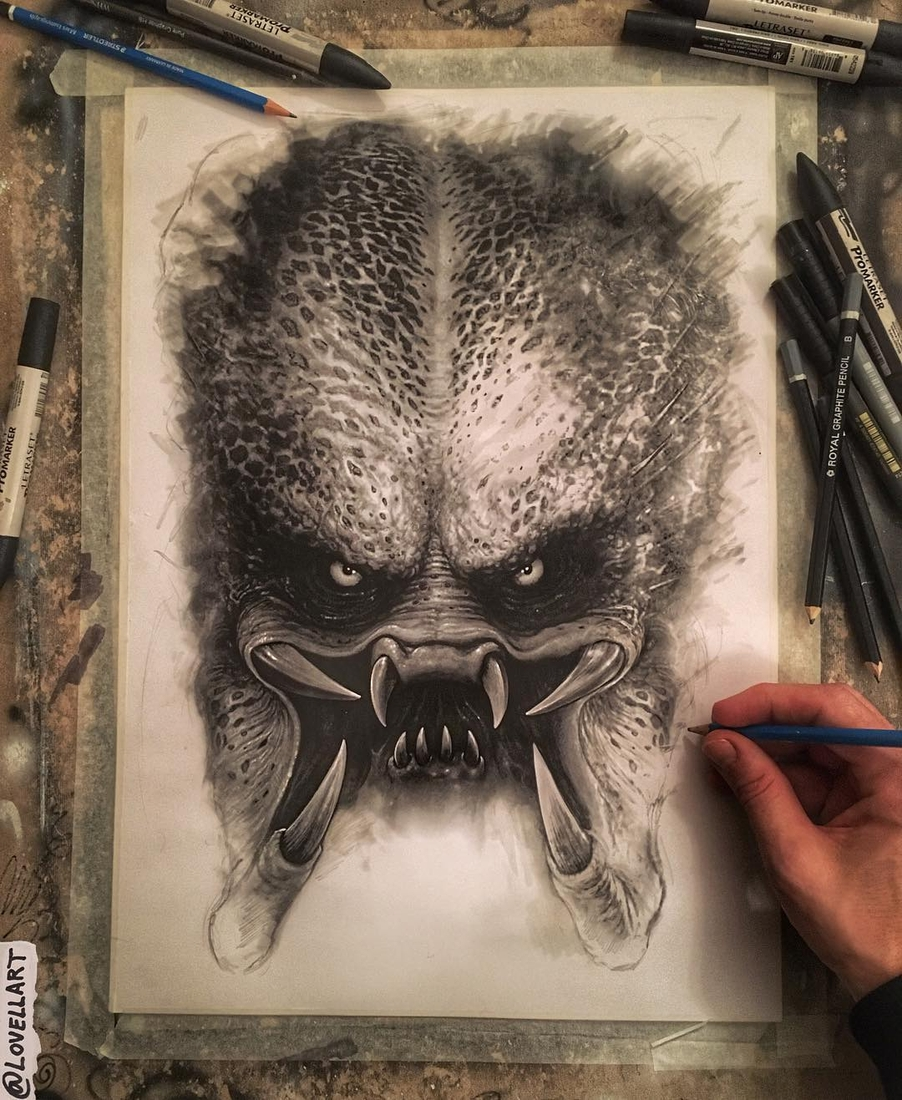 12-Predator-Christopher-Lovell-Character-Drawings-Portraits-and-Monsters-www-designstack-co