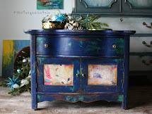 Turquoise Iris Vintage Modern Hand Painted Furniture