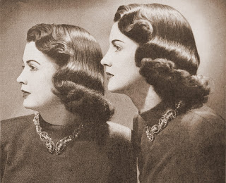 Vintage archival photo of twins