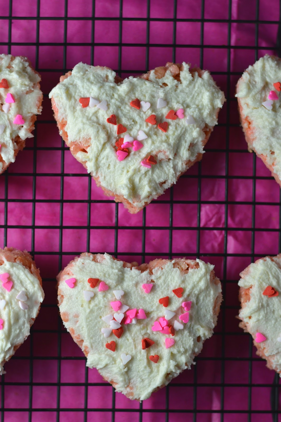 Rice Krispie Hearts with Buttercream Frosting