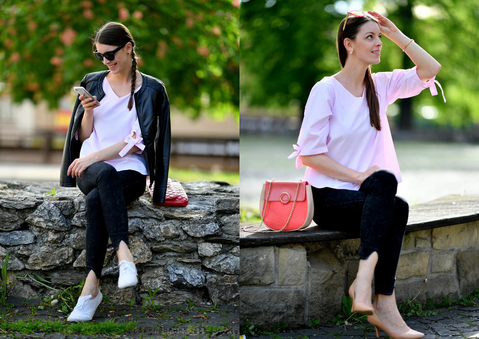 ružová blúzka, ktorú môžete kombinovať s lodičkami aj teniskami // pink blouse with grey jeans