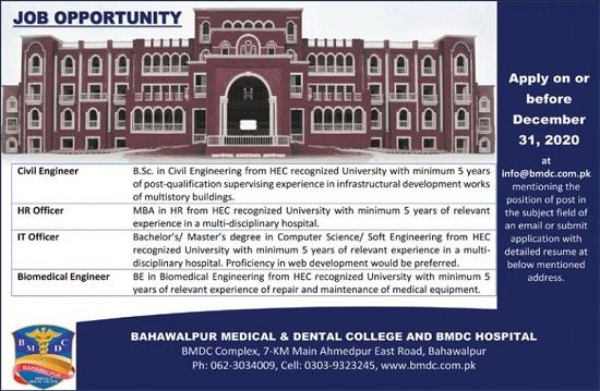 bmdc-hospital-jobs-2020-bahawalpur-medical-and-dental-college-application