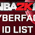 NBA 2K16 Complete List of Cyber Face IDs