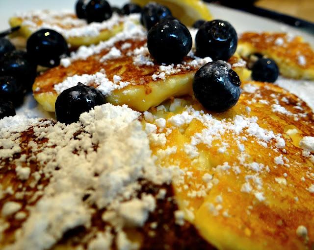 Fluffy Lemon-Blueberry Cottage Cheese Pancakes