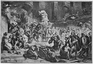 Alaric and the Visigoths entering Rome, as depicted by the 19th century German artist Wilhelm Lindenschmit the Younger
