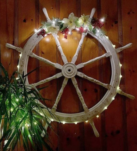 Ship Wheel Christmas Wreath Idea with Lights