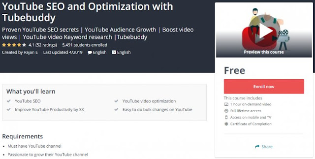 [100% Free] YouTube SEO and Optimization with Tubebuddy