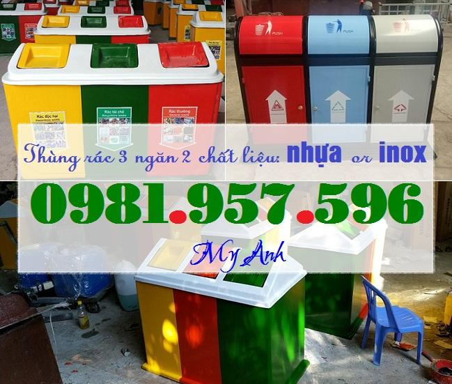 Thùng rác 3 ngăn, thùng rác 150L nắp lật, thùng rác COMPOSITE