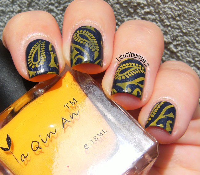 Blue and yellow paisley nail stamping