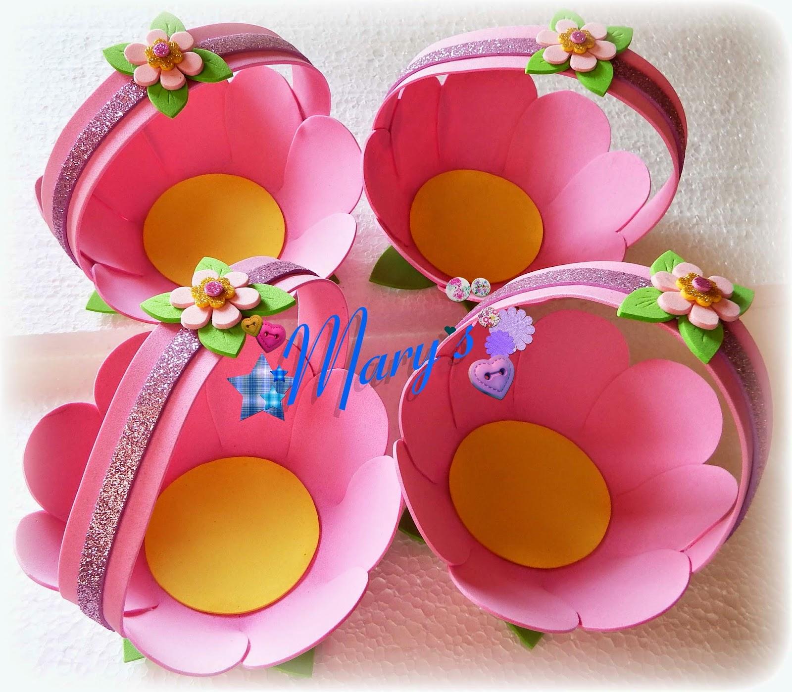 Canastos flor goma eva papeletta papeler a creativa for Sobres de goma eva