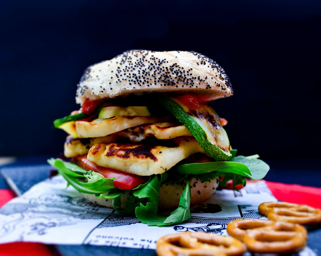 Grilled Halloumi & Red Pepper Burgers