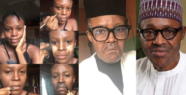 A talented Make-up artist paints her face to look like Buhari. Nigerians React over it