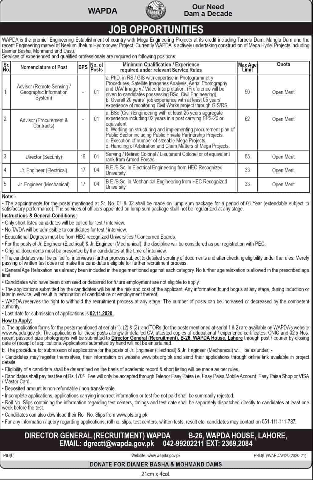 WAPDA jobs 2020 Latest Via PTS apply online