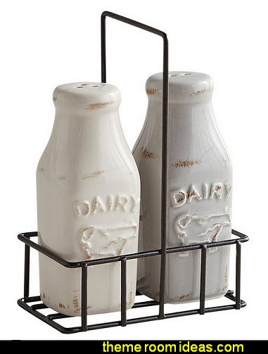 Milk Jug Salt & Pepper Shakers with Caddy farmhouse kitchen decor