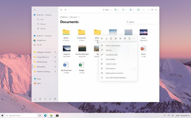 Konsep File Explorer baru untuk Windows 10