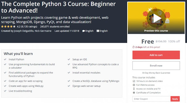 [100% Off] The Complete Python 3 Course: Beginner to Advanced!| Worth 194,99$