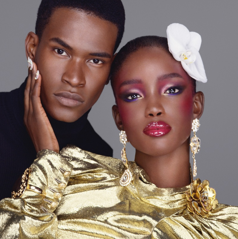 Salomon Diaz and Maty Fall Diba pose for Pat McGrath Labs Dark Star Mascara campaign.