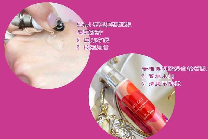 瑞桂傳明酸淨白精華液,清爽不黏膩,採壓頭設計,方便使用。