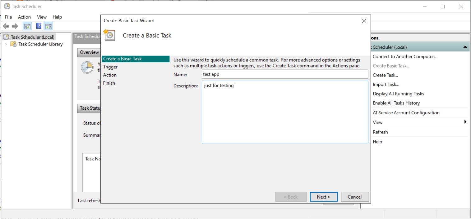 Schedule Python Task Using Windows task Scheduler in windows 10