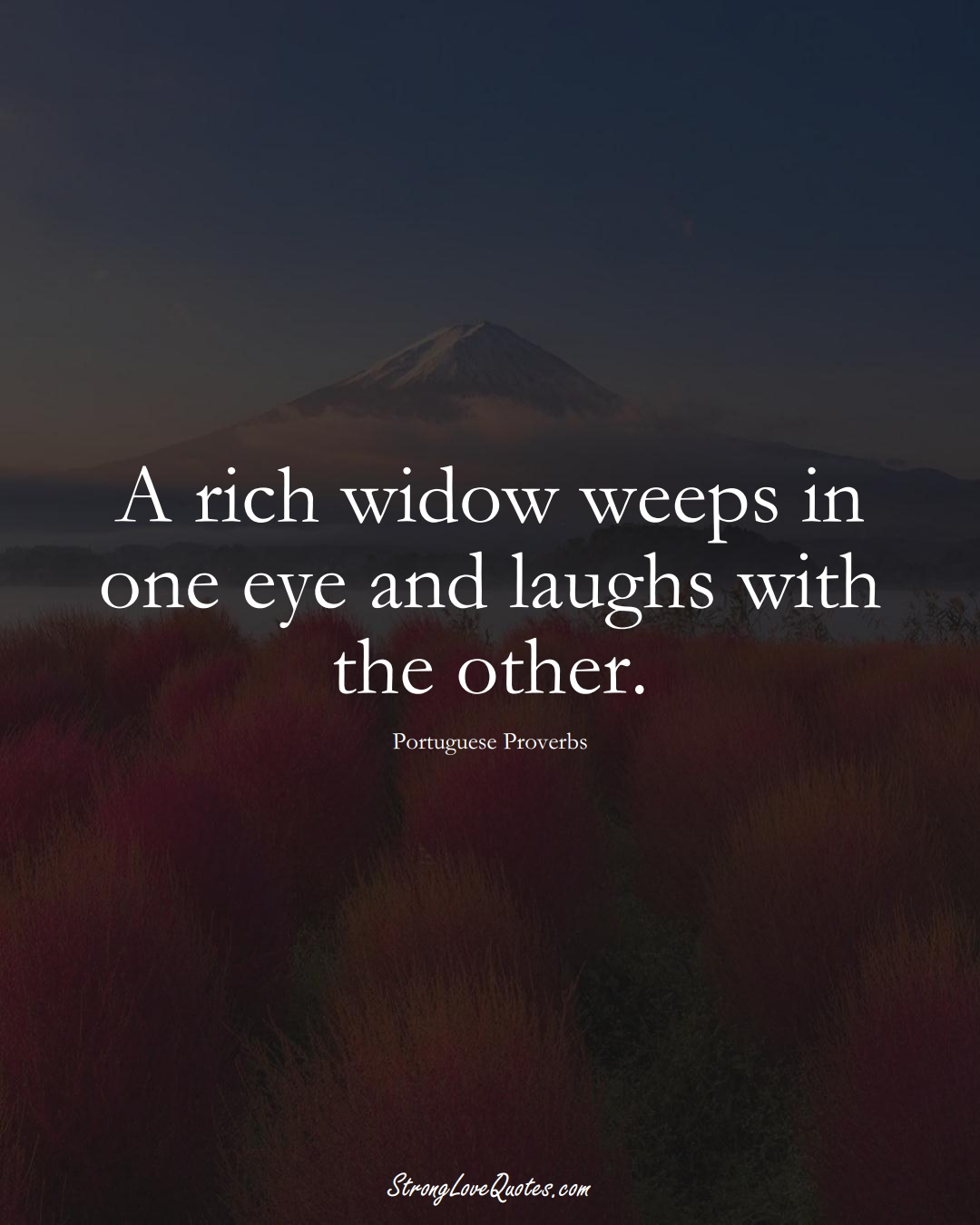A rich widow weeps in one eye and laughs with the other. (Portuguese Sayings);  #EuropeanSayings