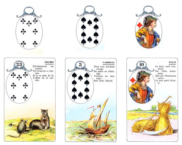 Oráculo Lenormand Lectura de 3 cartas y baraja francesa