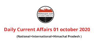 Daily Current Affairs  01 october 2020