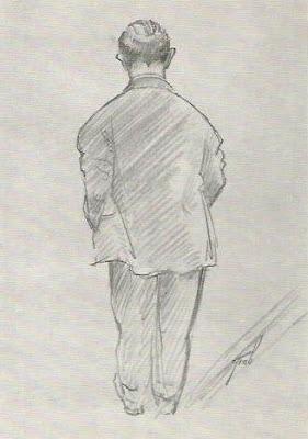 Dibujo de Miguel Najdorf realizado por Henry Grob