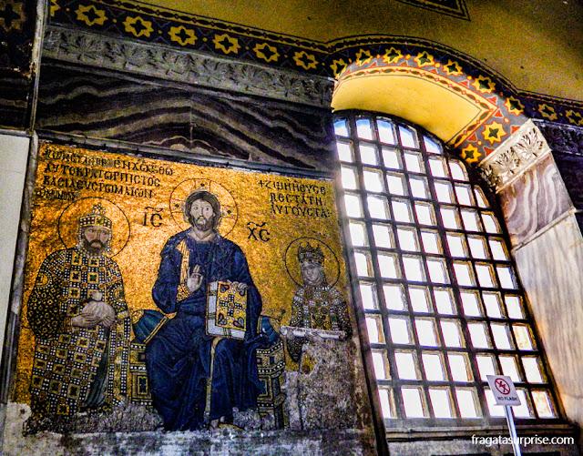 Mosaico bizantino na Basílica de Santa Sofia, em Istambul