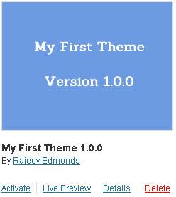 WordPress theme preview with screenshot thumbnail
