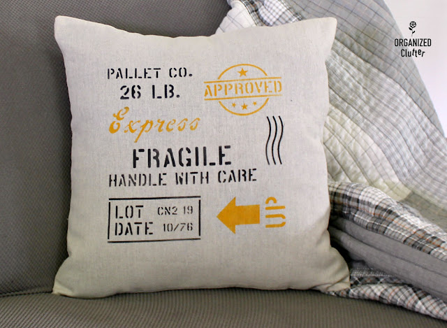 Shipping Crate Stamp Stenciled Pillow Cover