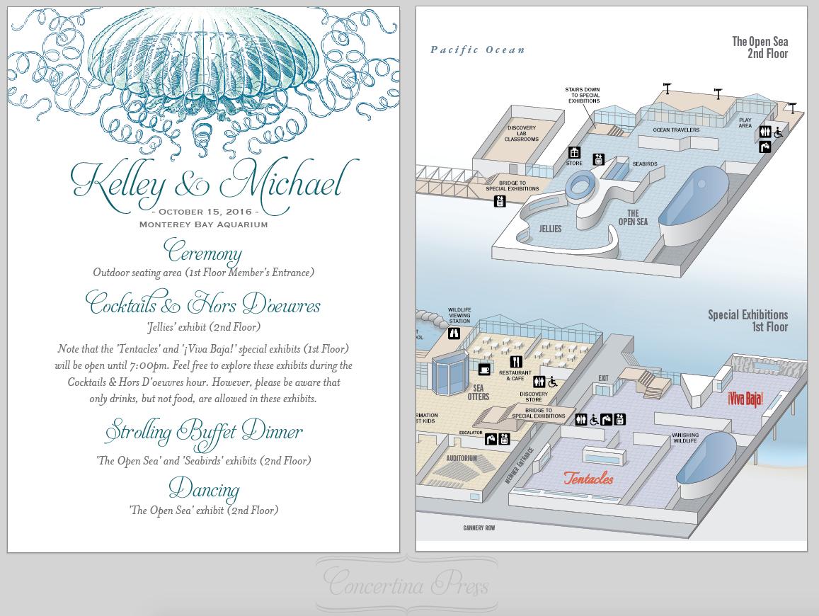Aquarium Wedding Programs from Concertina Press