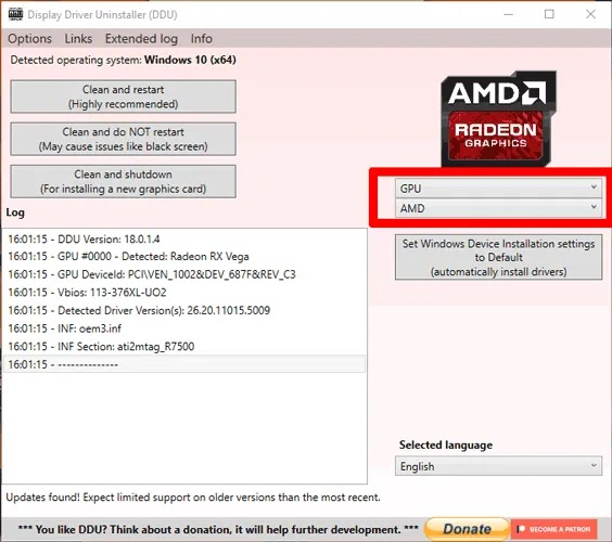 تحديث برامج تشغيل الرسومات AMD Ddu