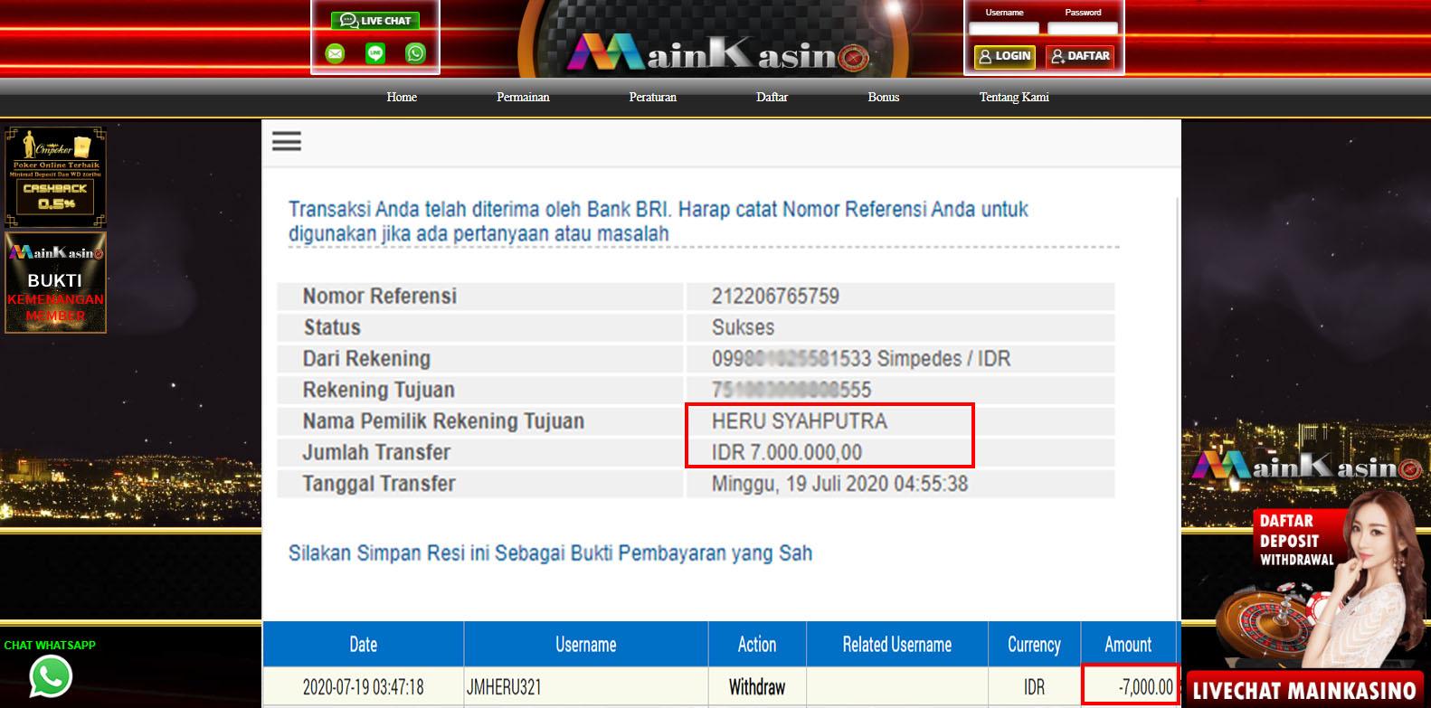 Selamat Kepada Member Setia MAIN KASINO Withdraw RP 7.000.000