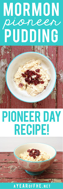 PIONEER PUDDING // This is an authentic recipe for a dessert the Pioneers made while crossing the plains.  You just dump everything into the baking dish, stir and bake! Such a fun dessert for Pioneer Day or for a Family Home Evening treat after a lesson on Pioneers!  #lds #pioneers #dessert #recipe