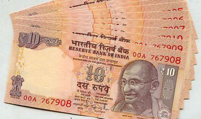 Chocolate brown, 10 Rupees Note, Reserve bank of India