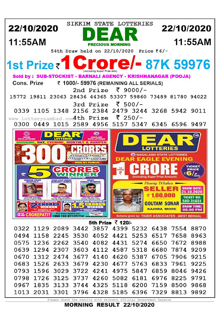 Sikkim State Lottery Result 22.10 2020, Sambad Lottery, Lottery Sambad Result 11 am, Lottery Sambad Today Result 11 55 am, Lottery Sambad Old Result
