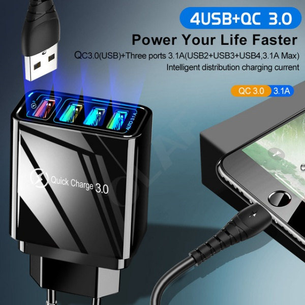 USB Charger for Samsung A50 A30 iPhone 7 8 Huawei P20 Tablet QC 3.0