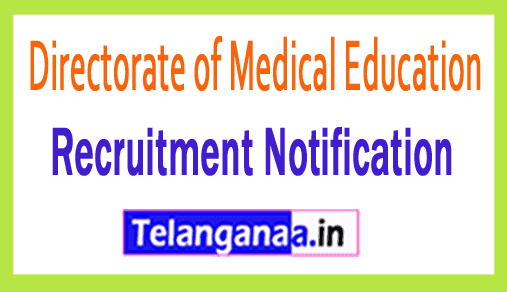 Directorate of Medical Education DME Recruitment