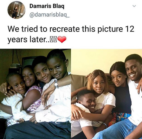 Siblings recreate childhood photo 12 years after