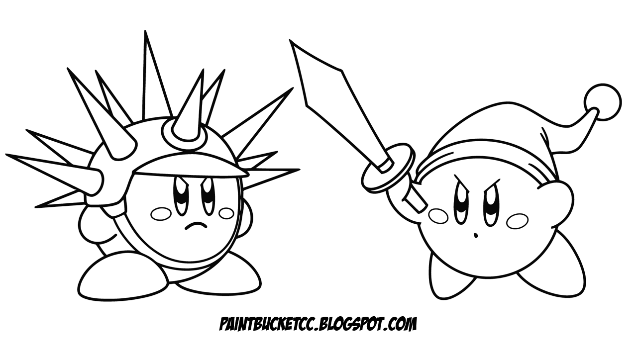 Kirby Coloring Pages Paint Bucket And Pixel Art Sword Needle