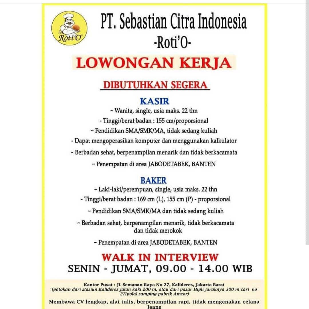 Info Lowongan Kerja Kasir Baker Roti O Jabodetabek Banten Info