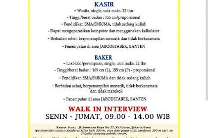 Info Lowongan Kerja Kasir Baker Roti'O Jabodetabek Banten