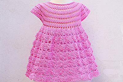 1 - Crochet IMAGEN Vestido rosa de abanicos a ganchillo Majovel Crochet