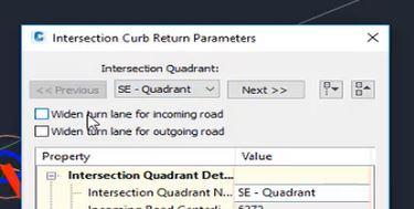 Intersection curb return parameters in Autodesk Civil 3D