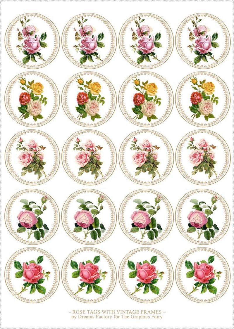 Etiquetas de rosas vintage para imprimir e como montar com massa de biscuit