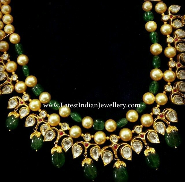 Pearls Emeralds Combination Stylish Necklace
